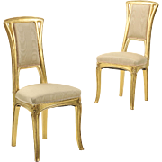 Pair of Art Nouveau Giltwood Antique Side Chairs attr. Louis Majorelle