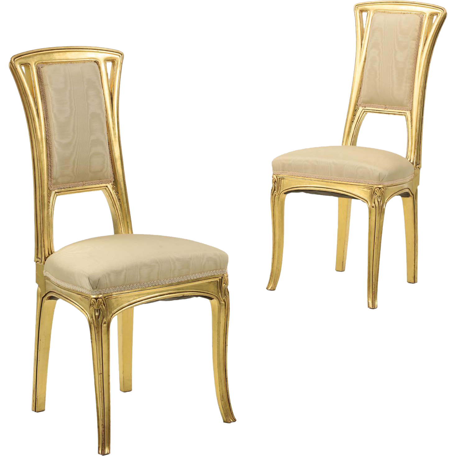 Pair Of Art Nouveau Giltwood Antique Side Chairs : Silla, Ltd. | Ruby Lane