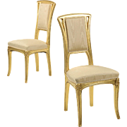 Pair of Art Nouveau Antique Side Chairs attr. Louis Majorelle, Early 20th Century