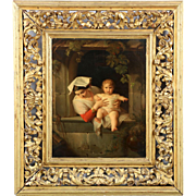 Exceptional Italian School Antique Oil Painting of Woman and Child, 19th Century