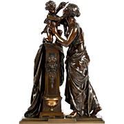 French Antique Bronze Sculpture Group of Woman and Child by Susse Freres