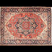 Authentic Antique Heriz Persian Carpet Rug, Room Size, 12.5 x 9.75 c. 1910