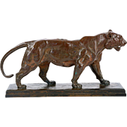 French Bronze Sculpture of Tigre Qui Marche after Antoine-Louis Barye, F. Barbedienne