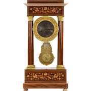 Empire Style Inlaid Rosewood Antique Portico Mantel Clock, 19th Century