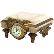 French Louis XVI Antique Onyx and Bronze Sculpture Base or Pedestal w/ Clock