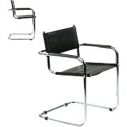 Vintage Pair of Chrome and Leather Cantilever Arm Chairs after Mart Stam, Mid-Century Modern