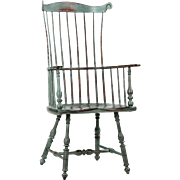American Painted Windsor Fanback Arm Chair, 20th Century