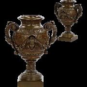Pair of French Antique Bronze Vases Urns Garnitures, 19th Century