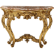 French Antique Console Table in Louis XV, Carved Giltwood w/ Marble Top, 19th Century