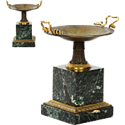 Pair of Antique Bronze and Marble Garniture Tazzas, 19th Century