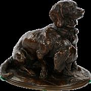 Emmanuel Fremiet Antique French Bronze Sculpture of Basset Hound Dogs, 19th Century