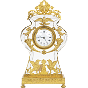 French Empire Antique Gilt Bronze on Glass Mantel Clock, 19th Century