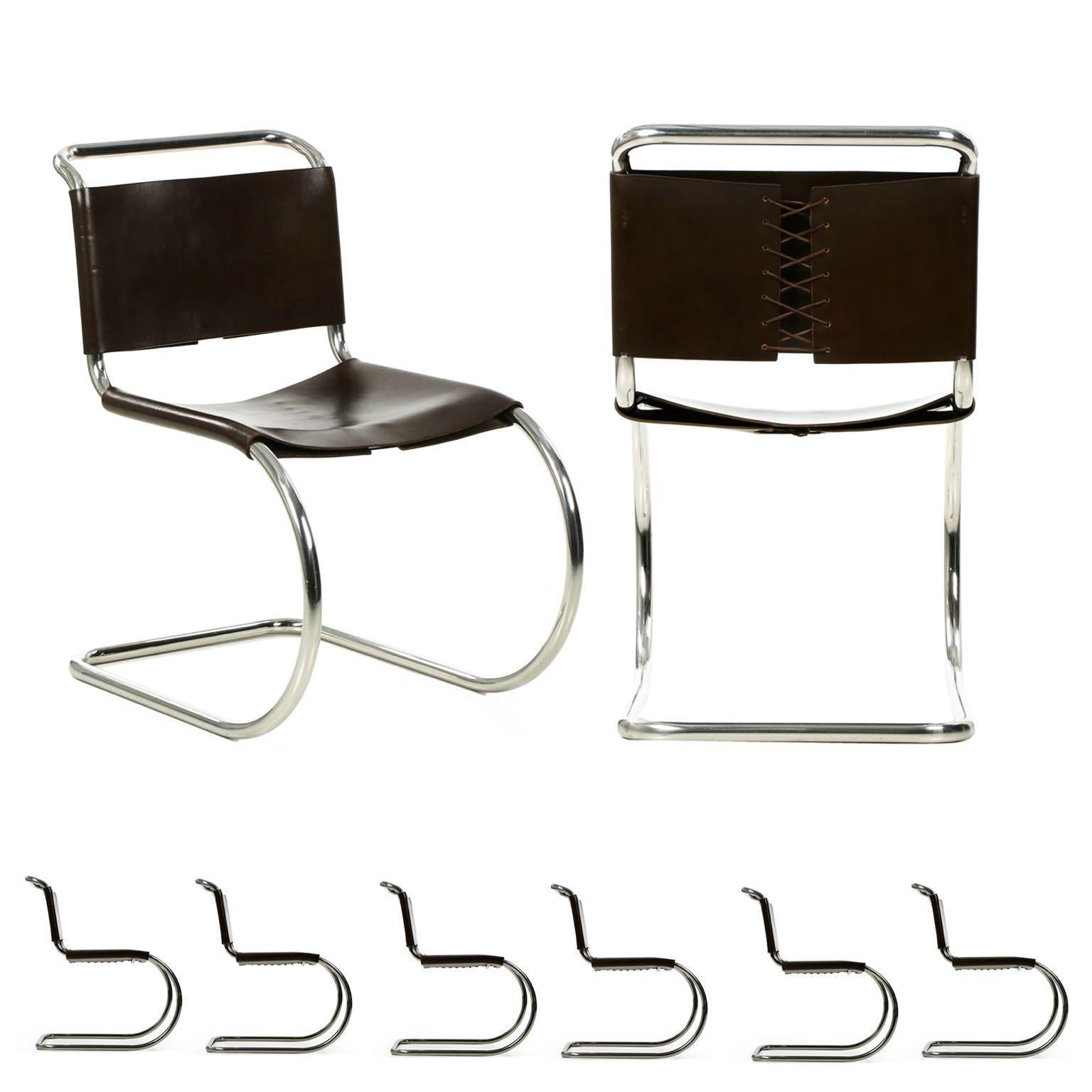 Set of Eight Mies van der Rohe MR 10 Leather Tubular Dining Chairs