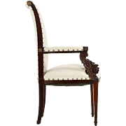 Neoclassical Revival Antique Carved Mahogany Arm Chair, 19th Century