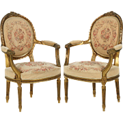 Pair of Antique French Arm Chairs Fauteuils, 19th Century