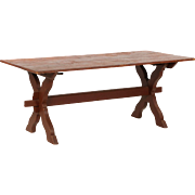 American Scrubbed Pine Farm Table w/ Trestle Base, 20th Century