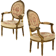 French Louis XVI Style Antique Carved Arm Chairs Fauteuils, 19th Century