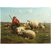 Antique Painting of Shepherd and Sheep by Cornelius van Leemputten and Jan David Col