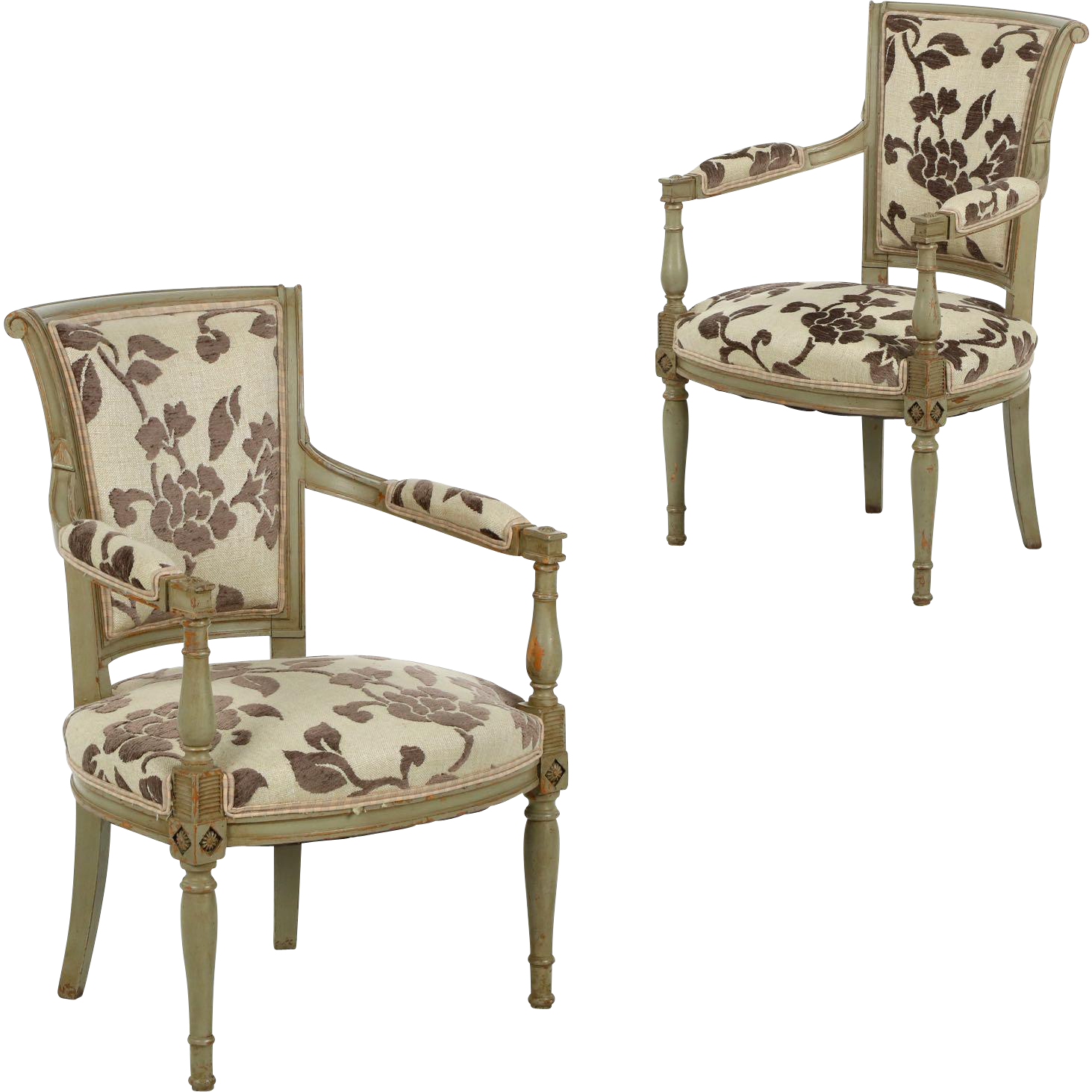 Pair Of French Directoire Green Painted Antique Arm Chairs