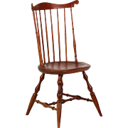 American Windsor Style Benchmade Fanback Side Chair, 20th Century