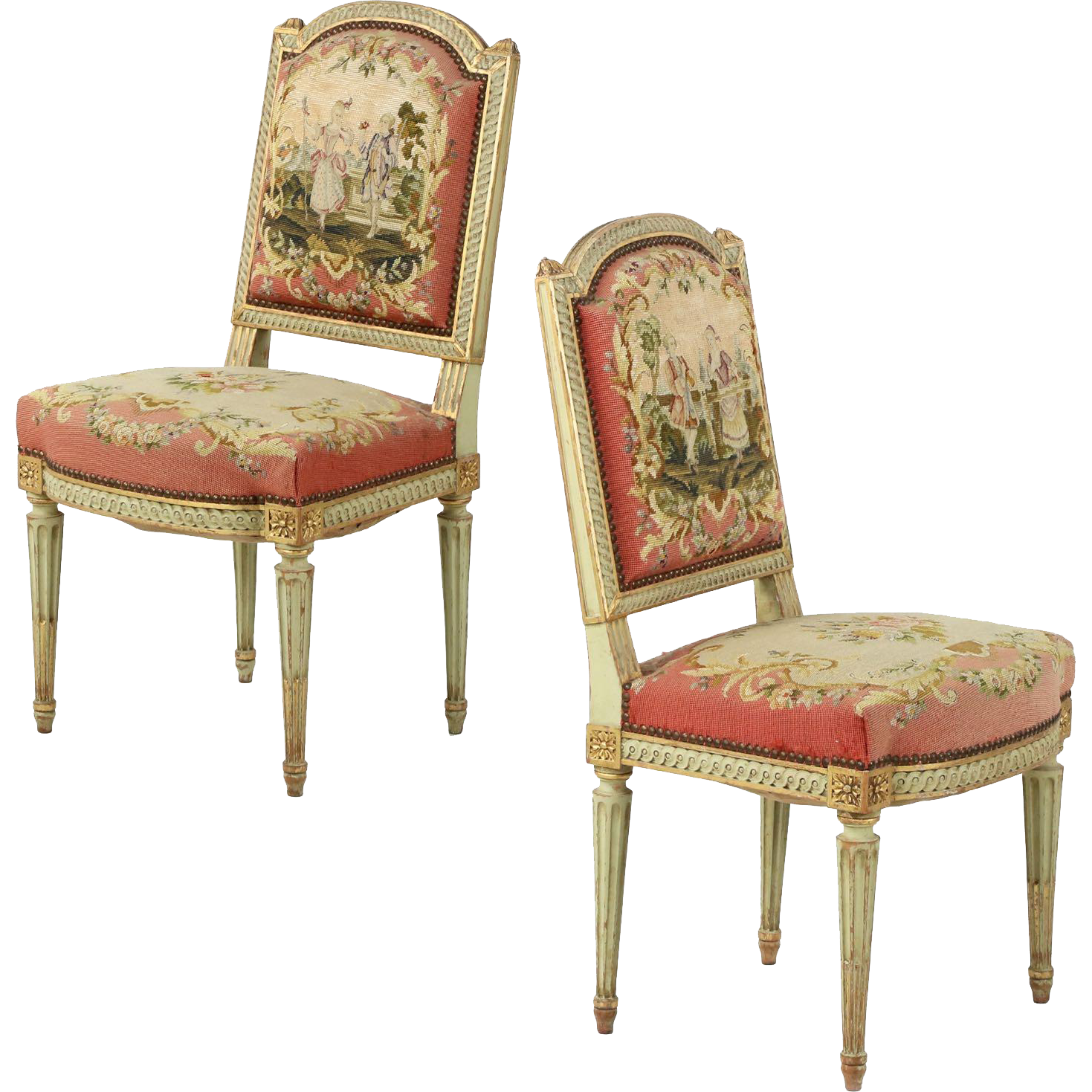 Pair of french antique side chairs in original green paint for Sillas louis xvi