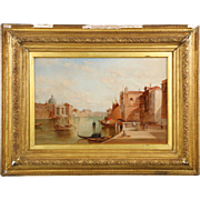 Alfred Pollentine Antique Oil Painting of Venice Grand Canal c. 1885, Signed