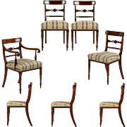 Set of Seven English Regency Mahogany Antique Dining Chairs, 19th Century