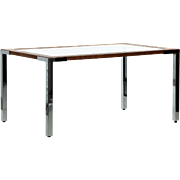 Minimalist Modern Vintage Dining Table in Chrome, Oak and Glass, 20th Century