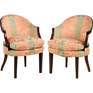 Pair of George III Antique Bank of England Style Arm Chairs, 19th Century