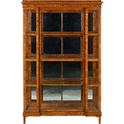 Biedermeier Olivewood Glass Display Case Cabinet Bookcase, 19th Century