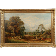 Frederick Hulme Antique Landscape Painting of Sheep, 19th Century