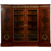 French Empire Mahogany Antique Bookcase Cabinet, 19th Century