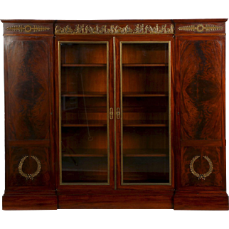 French Empire Mahogany Antique Bookcase Cabinet, 19th Century