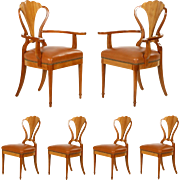 Set of Six Art Deco Style Leather Dining Chairs, 20th Century