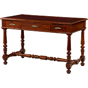English Antique Leather Writing Desk in Carved Mahogany c. 1900