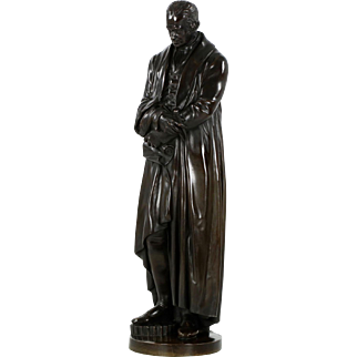 Large Antique Bronze Sculpture of James Watt, 19th Century