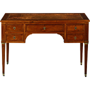 French Louis XVI Fruitwood and Distressed Leather Writing Desk, 19th Century