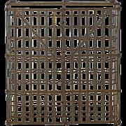 French Industrial Vintage Enameled Steel 100 Bottle Wine Rack, Mid 20th Century