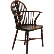 English Antique Yew and Elm Windsor Arm Chair, Early 19th Century