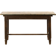 English Scrubbed Pine Antique Farm Work Tavern Table, 19th Century