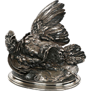 Authentic Paul Comolera Bronze Sculpture of Partridge Bird c. 1865