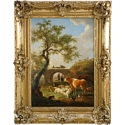 Jean-Baptiste de Roy Antique Landscape Painting with Farm Animals c. 1798
