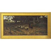 John Carleton Wiggins Antique Landscape Painting of Sheep c. 1883