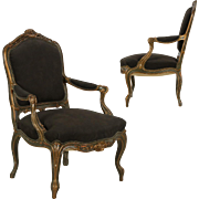 Pair of Antique French Louis XV Fauteuil Arm Chairs, 19th Century