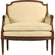 French Louis XVI Antique Arm Chair of Carved Walnut, 19th Century