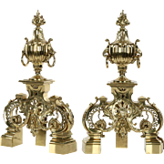 Pair of Barbedienne Antique Andirons Chenets, 19th Century