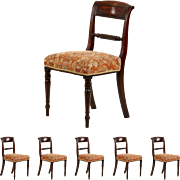 Set of Six Antique Regency Mahogany Dining Chairs, 19th Century