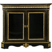 Napoleon III Ebonized Antique Bronze Cabinet, 19th Century c. 1870