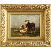 John Carleton Wiggins Antique Painting of Two Cows c. 1888, Signed