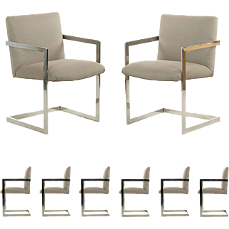 Set of Eight Vintage Modern Chrome Steel Cantilever Dining Arm Chairs, c. 1980's